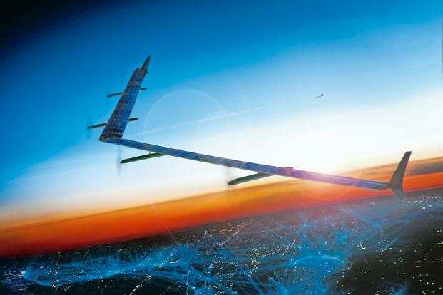 A rendering of Aquila, Facebook's planned solar-powered drone. The Aquilas could beam high-speed data to some of the world's remotest regions. Photo: The New York Times